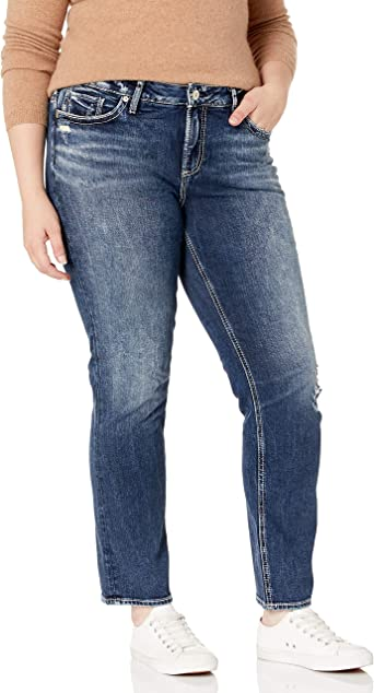 Womens Elyse Curvy Fit Mid Rise Straight Leg Jean Silver Jeans Co