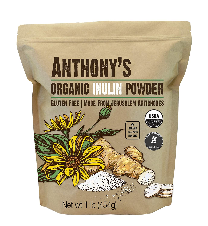 Anthony's Organic Inulin Powder, 1 lb, Gluten Free, Non GMO, Made from Jerusalem Artichokes