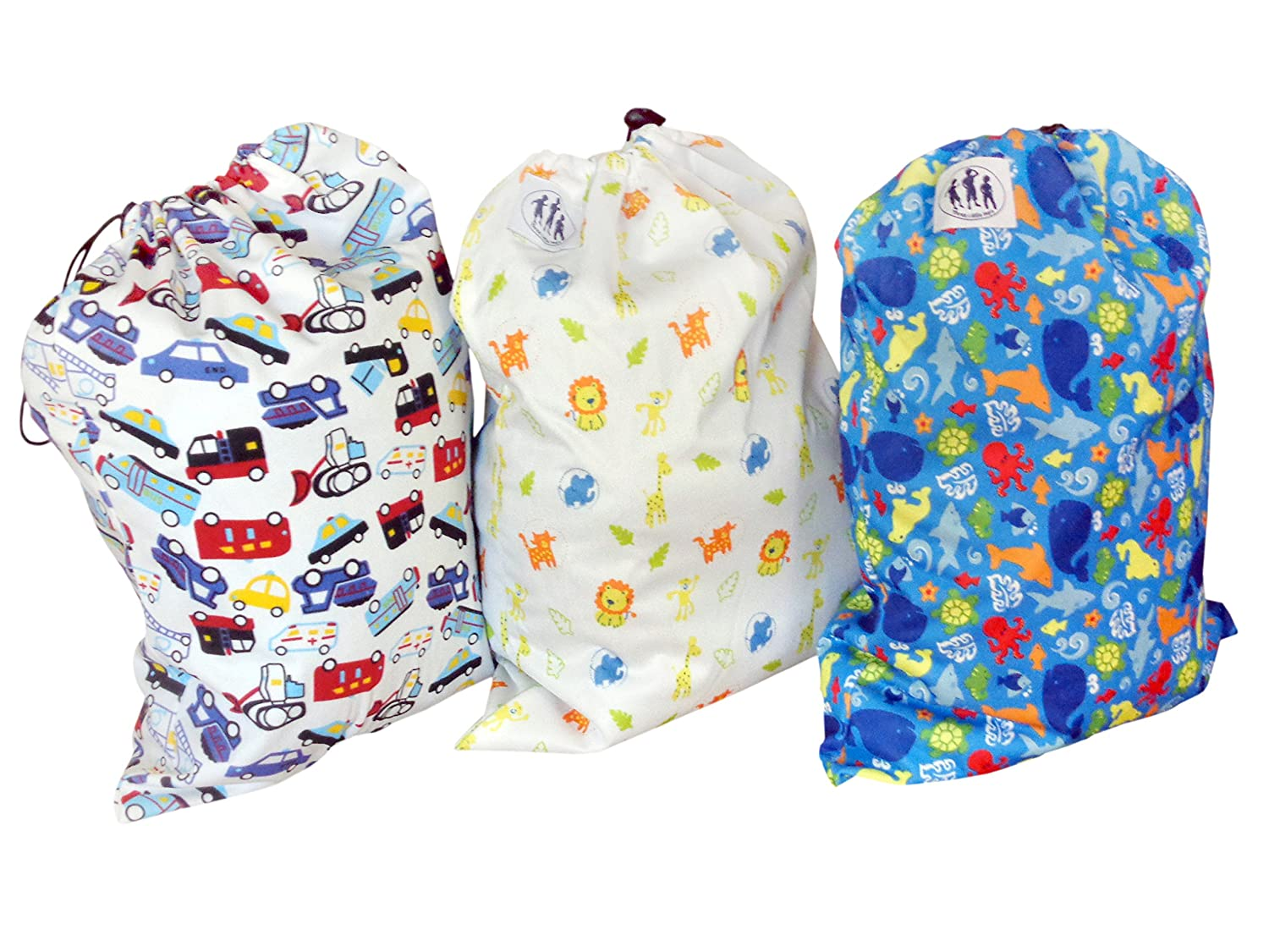 Three Little Imps Patterned Cloth Nappy Wet Bags Little Boy themes Set of 3