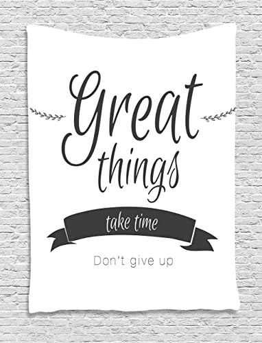 Ambesonne Saying Tapestry, Modern Inspirational Lettering Thing Take Time Don t Give up Lifestyle, Wall Hanging for Bedroom Living Room Dorm Decor, 60 X 80 , Black White