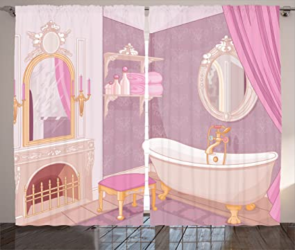 Amazon.com: Ambesonne Teen Girls Decor Collection, Fancy Bathroom in ...