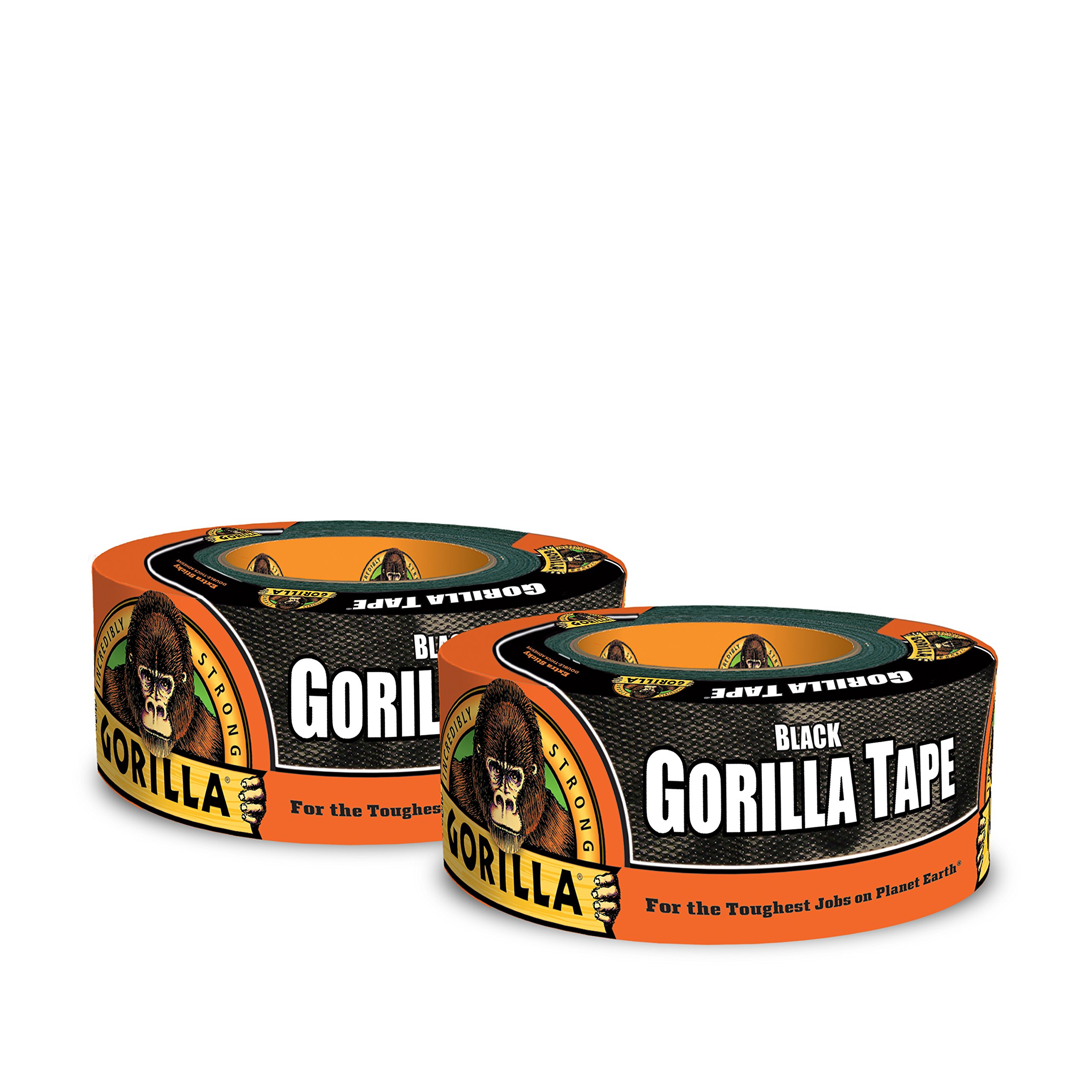 Gorilla Tape, Black Duct Tape, 1.88'' x 12 yd, Black, (Pack of 2)
