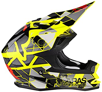 Lazer MZE600030210M Or1 Aras Freestyle Replica Casco Integral Mx, Amarillo/Negro/Rojo,