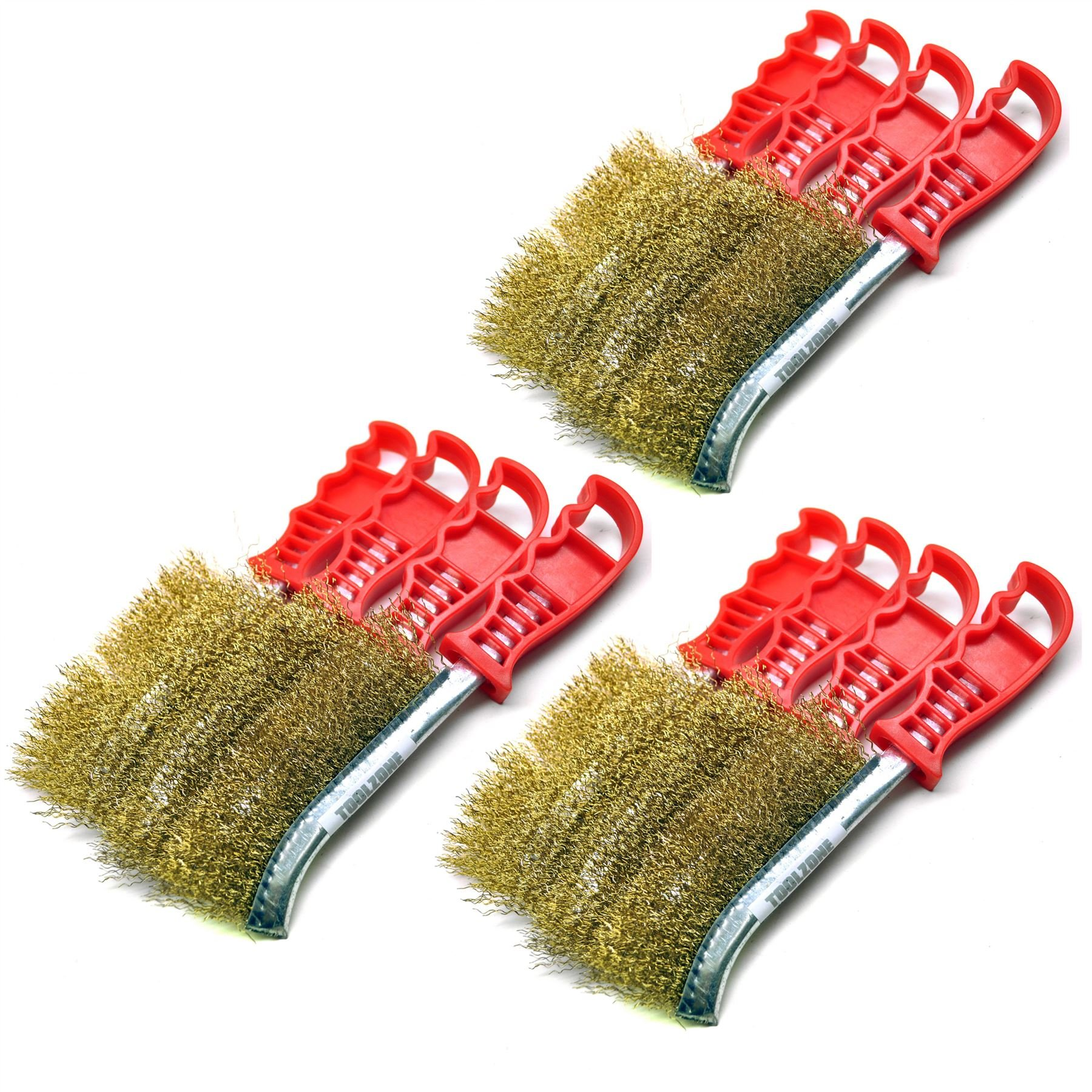 Brass Plated Rust Removal Cleaning Hand / Spid Brush (12 Pack) TE221