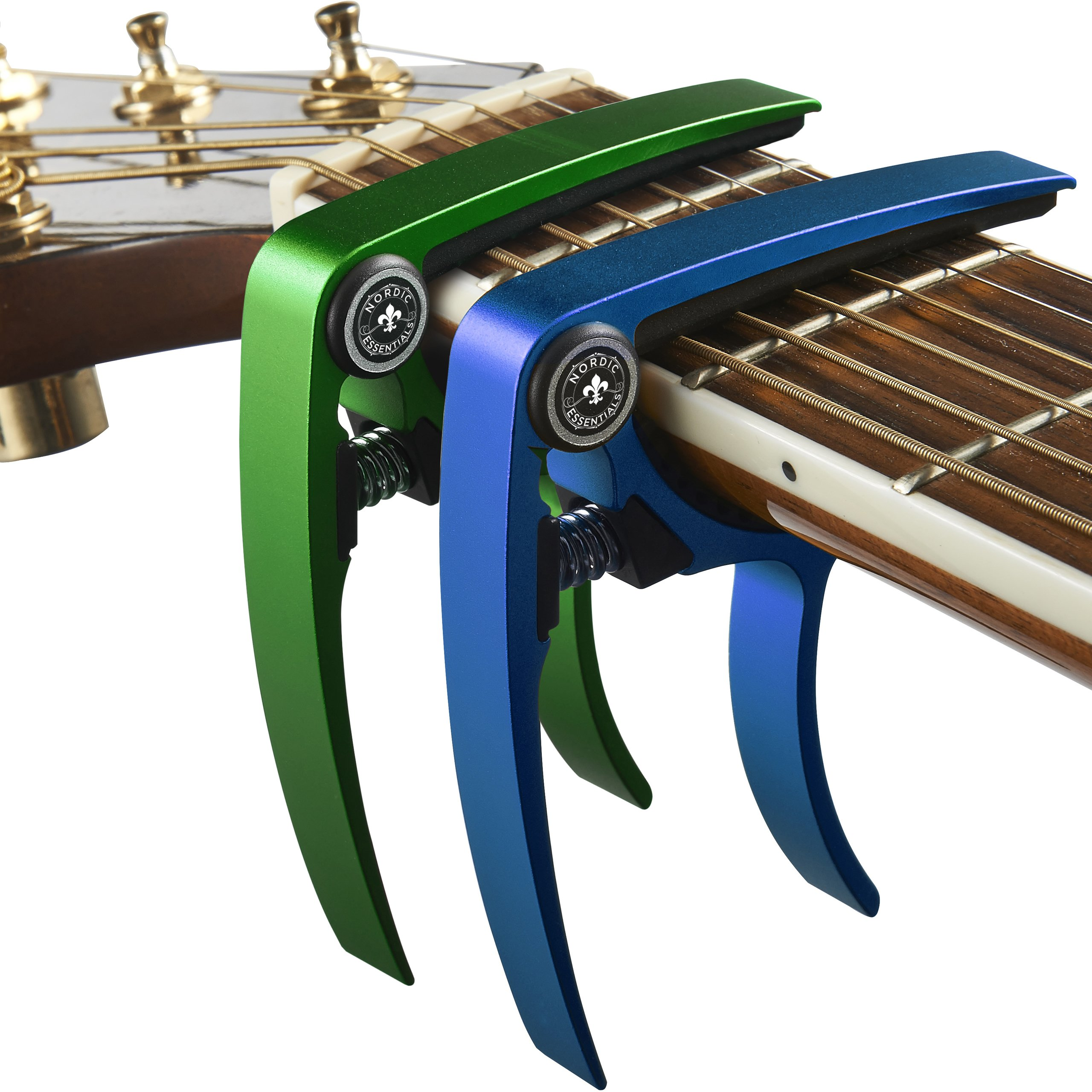 Guitar Capo (2 Pack) for Guitars, Ukulele, Banjo, Mandolin, Bass - Made of Ultra Lightweight Aluminum Metal (1.2 oz!) for 6 & 12 String Instruments - Nordic Essentials, (Green+Blue) by Nordic Essentials
