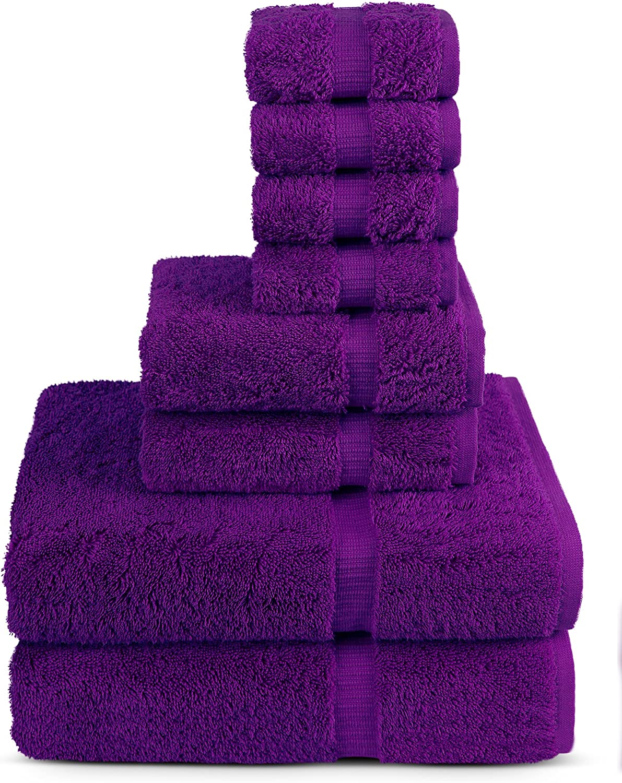8 Piece Turkish Luxury Turkish Cotton Towel Set - Eco Friendly, 2 Bath Towels, 2 Hand Towels, 4 Wash Clothes by Turkuoise Turkish Towel (Eggplant)