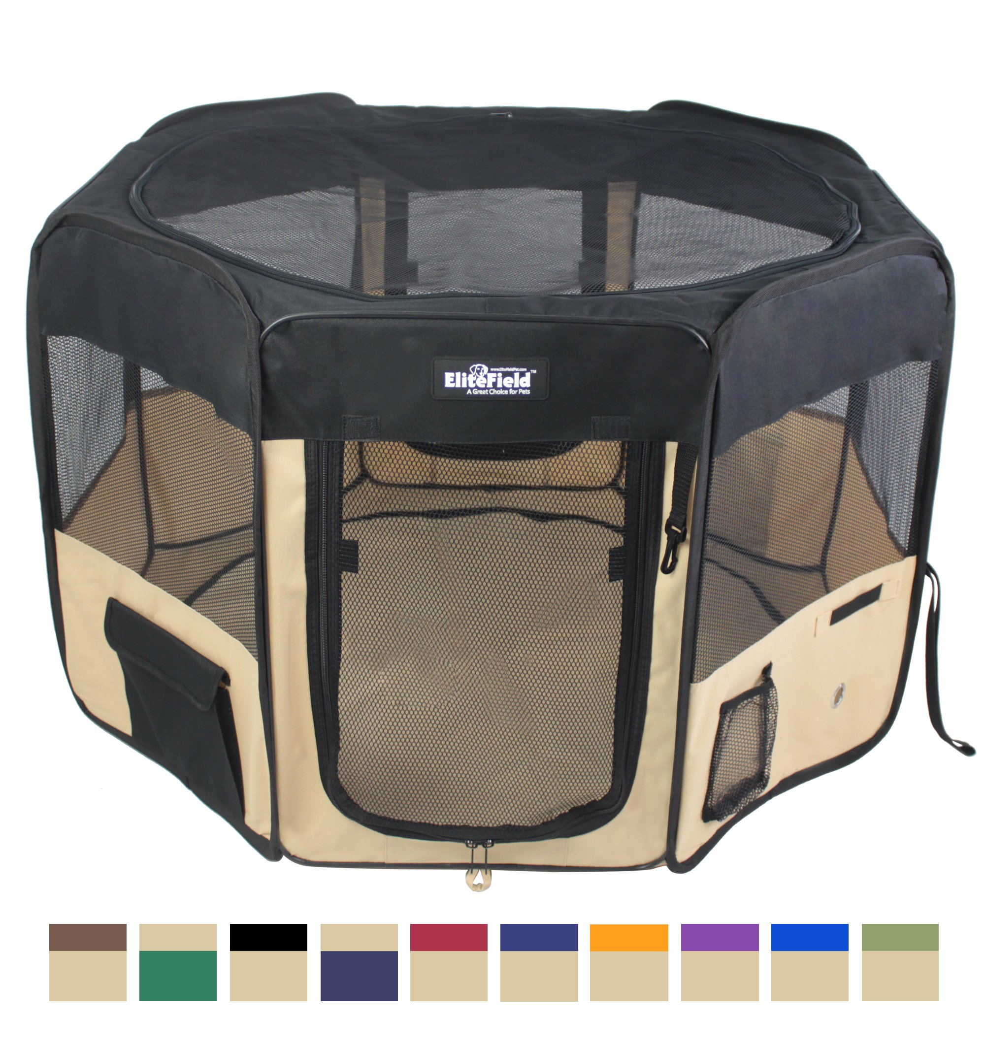 EliteField 2-Door Soft Pet Playpen, Exercise Pen, Multiple Sizes and Colors Available for Dogs, Cats and Other Pets (48'' x 48'' x 32''H, Black+Beige)