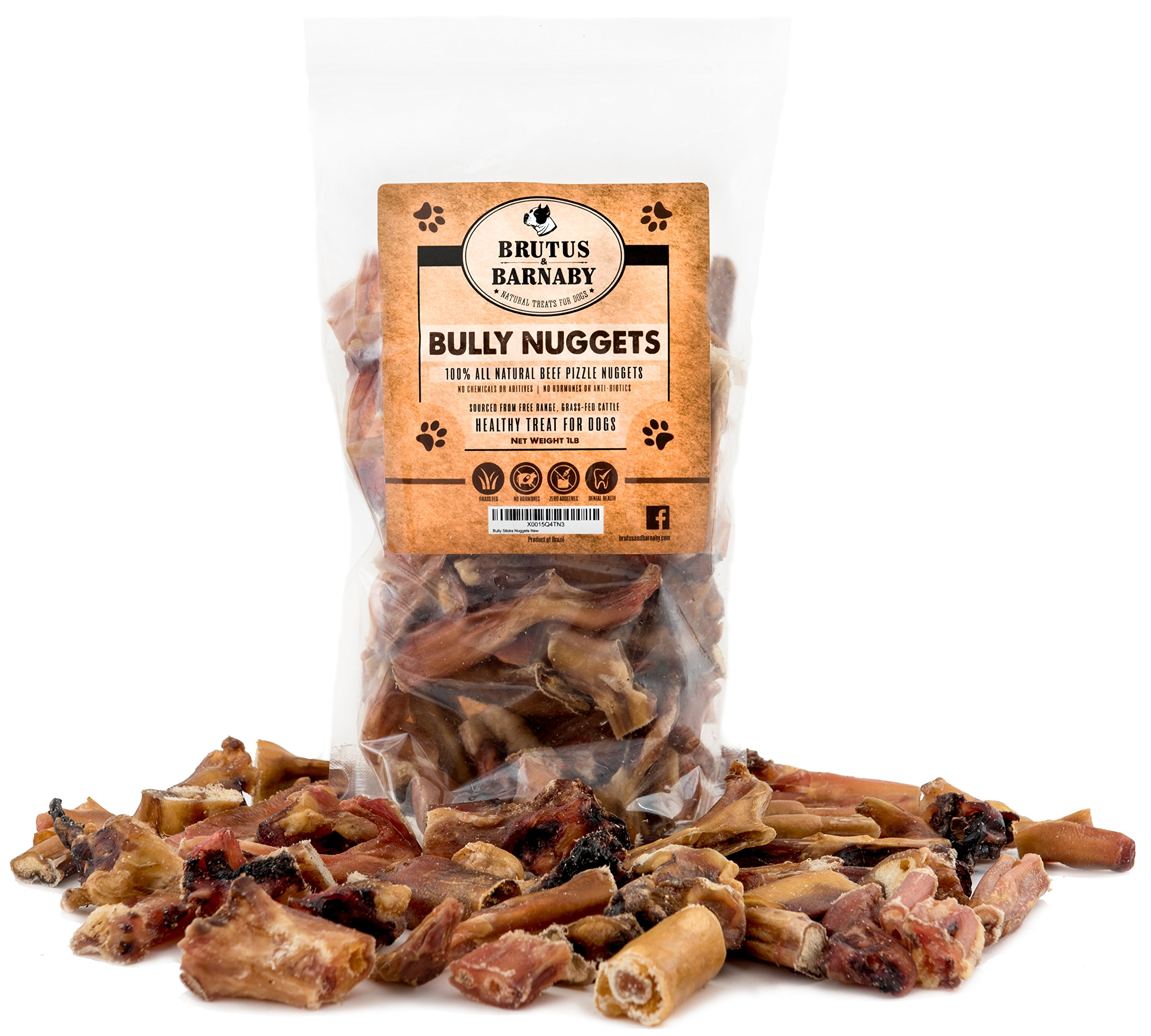 BRUTUS & BARNABY Bully Nuggets- Grass Fed Low Odor Bully Stick Bites- All Natural and Grain Free; USDA Approved (1lb)…