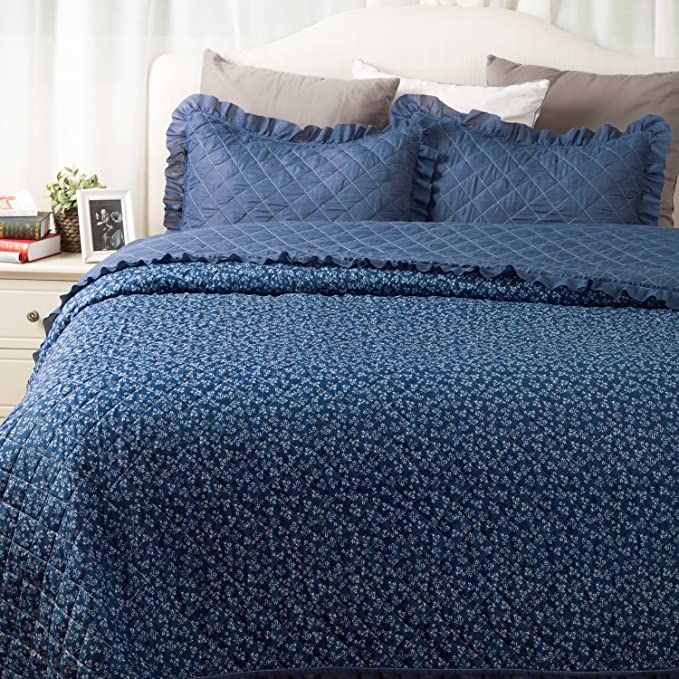 "Flowers Quilts Diamond Stitching Coverlet Set Full/Queen Size (90""x96"") 3-Piece Bed Cover Small Flora and Leaves Dark Blue Patchwork Bedspread Lightweight Hypoallergenic Microfiber Design"