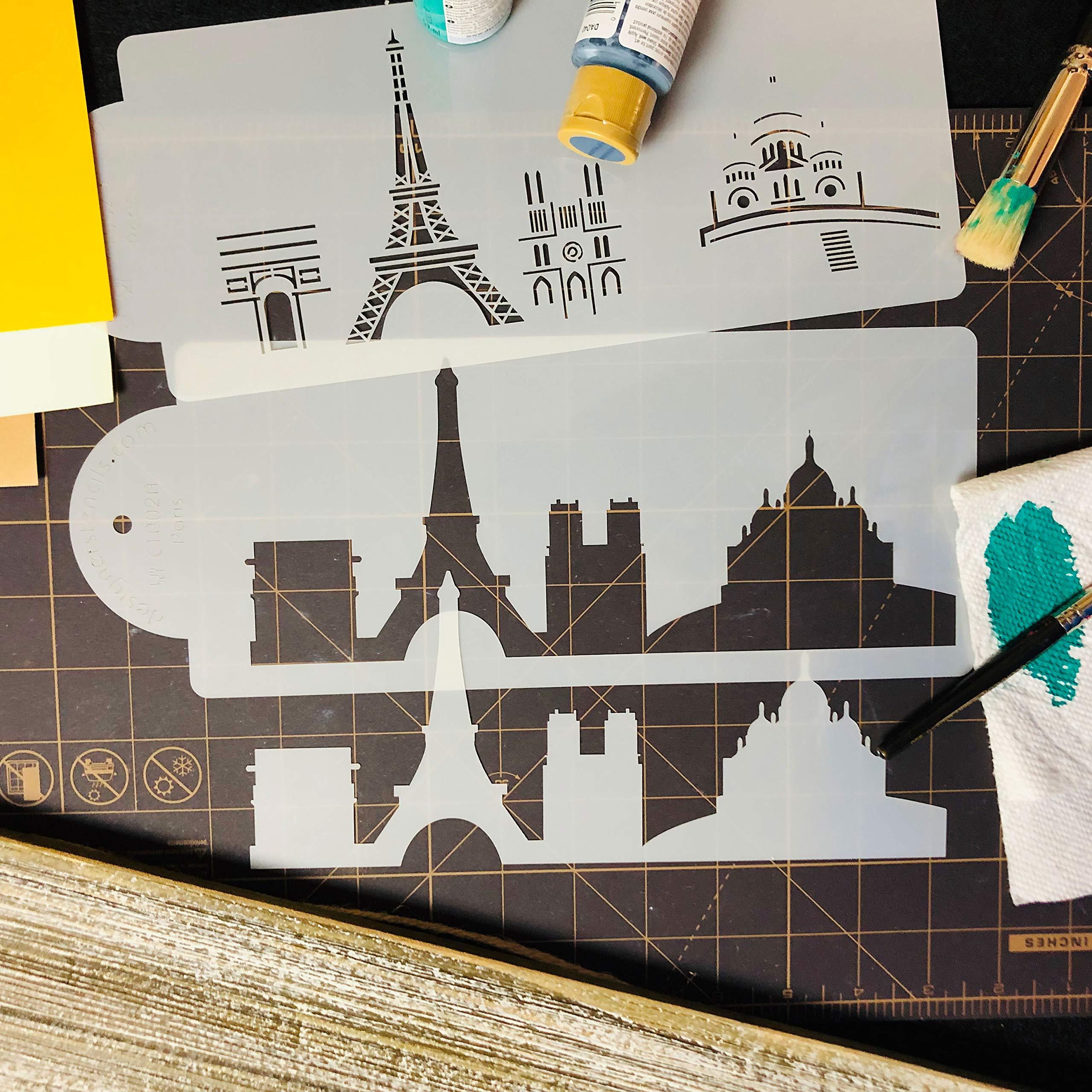 Paris Detailed Skyline Cake Stencil Side C1002 by Designer Stencils by Designer Stencils