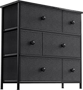 REAHOME 6 Drawer Dresser for Bedroom Chest of Drawers Closets Storage Units Organizer Tower Steel Frame Wooden Top Living Room Entryway Office (Black Grey) YLZ6B4