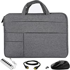 VG Bags Ultra-Slim Grey 15-inch Laptop Sleeve Bag with USB Hub, Mouse, and HDMI Cable for Dell G3 G5 G7 Gaming, Inspiron, Latitude, Vostro, XPS, Precision, Alienware m15 15.6""