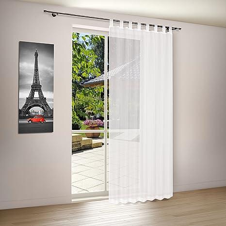 Kamaca Gardine Dekoschal mit Schlaufen Sunshine NO Clouds Weiss transparent Fertiggardine 140 x 225 cm stilvoll und elegant S