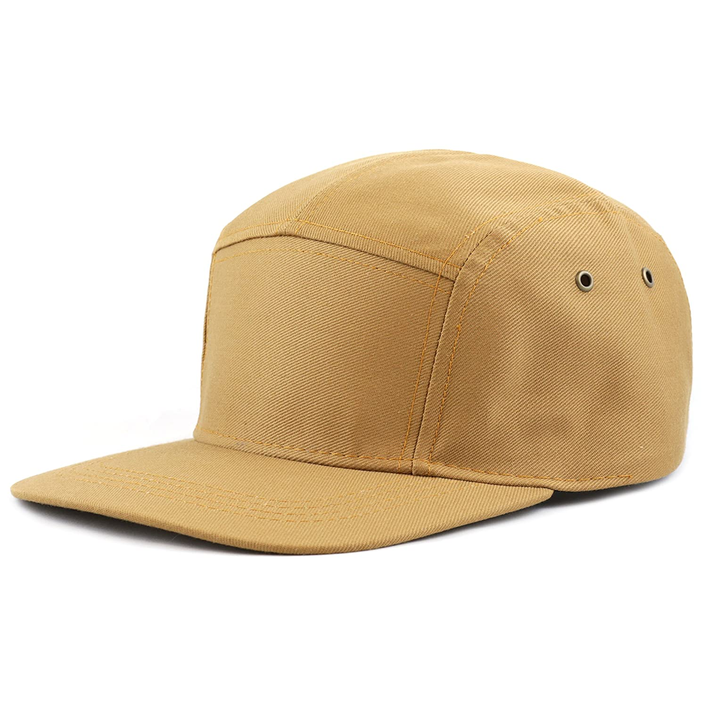 ed44e898ed5 THE HAT DEPOT Cotton Twill 5 Panel Flat Brim Genuine Leather Brass ...
