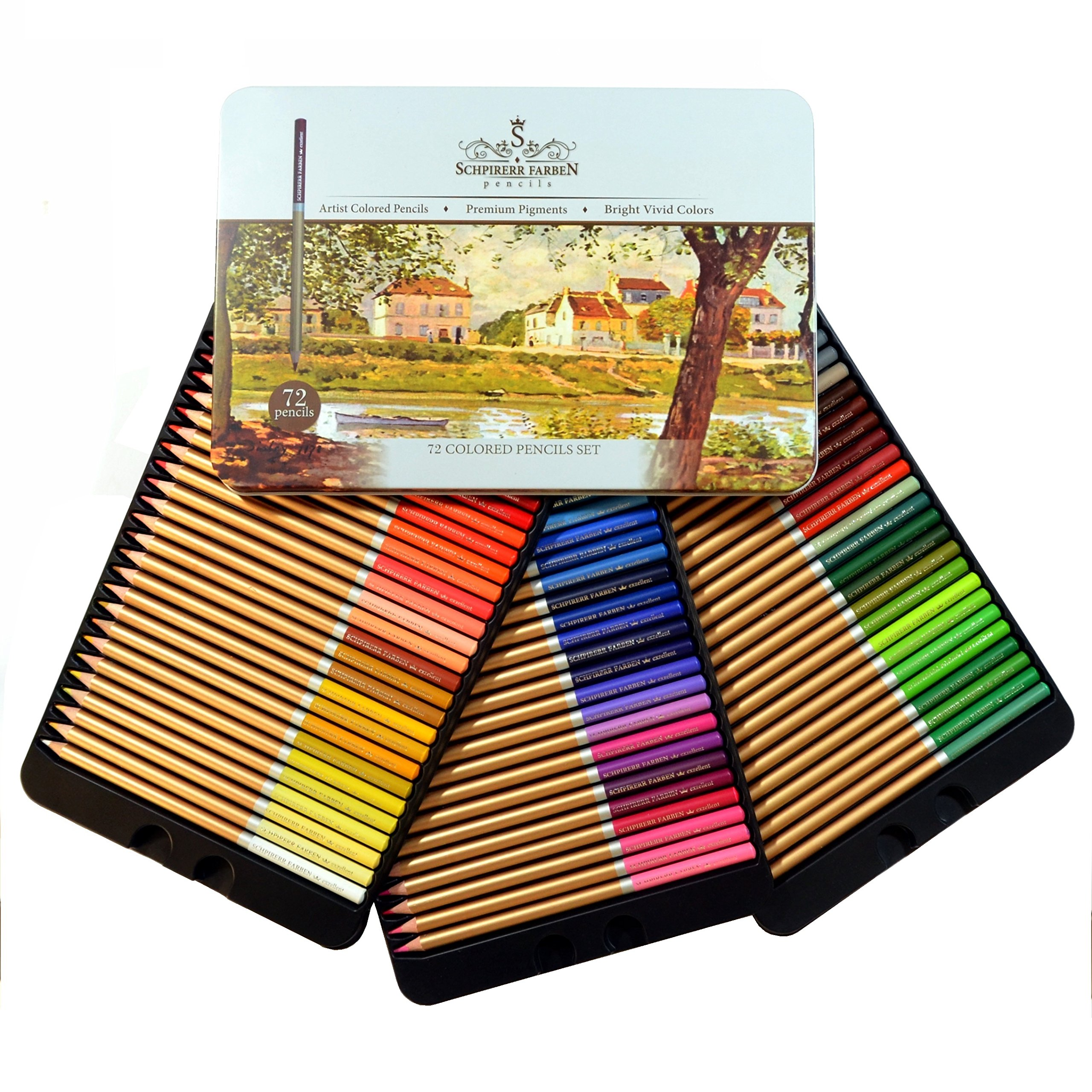 Professional Premium numbered 72 Colored Pencils Set By Schpirerr Farben – Oil-Based Soft Core – Ideal For Adults, Artists, Sketchers & Children – Coloring Sketching & Doodling by Goodyism