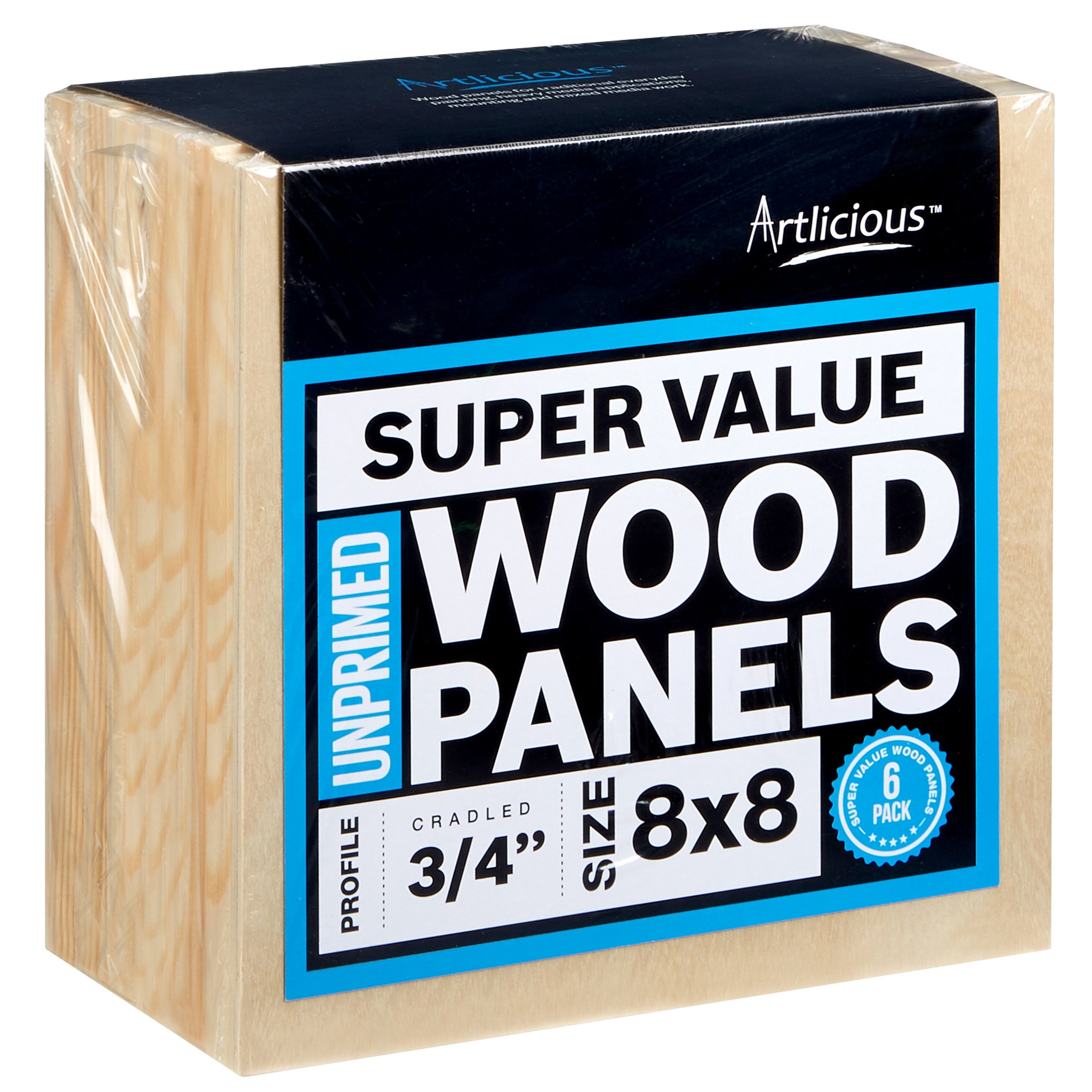 Artlicious - 6 Super Value Wood Panel Boards - Great Alternative to Canvas Panels, Stretched Canvas & Canvas Rolls (8x8, Standard Profile)
