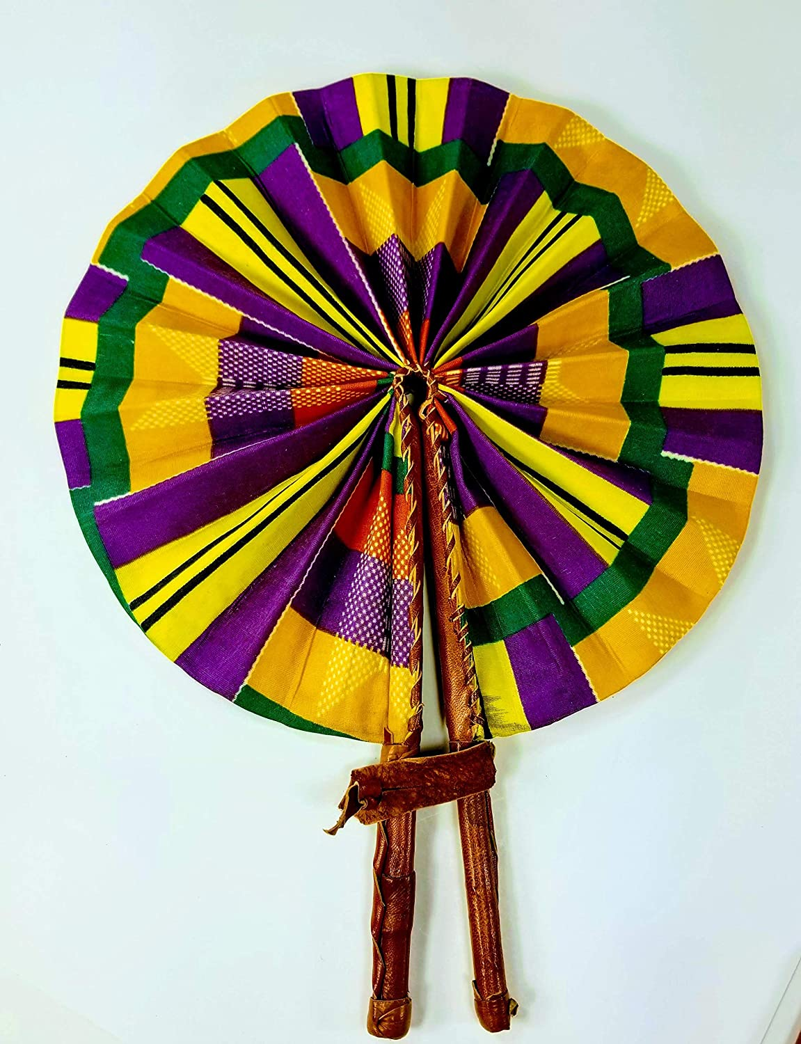 Kente Style Handcrafted,Compact, Purse size African Fabric Fans