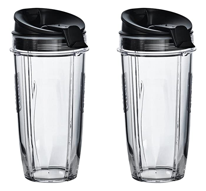 Nutri Ninja 24 oz Tritan Cups with Sip & Seal Lids. Compatible with BL480, BL490, BL640, & BL680 Auto IQ Series Blenders (Pack of 2)