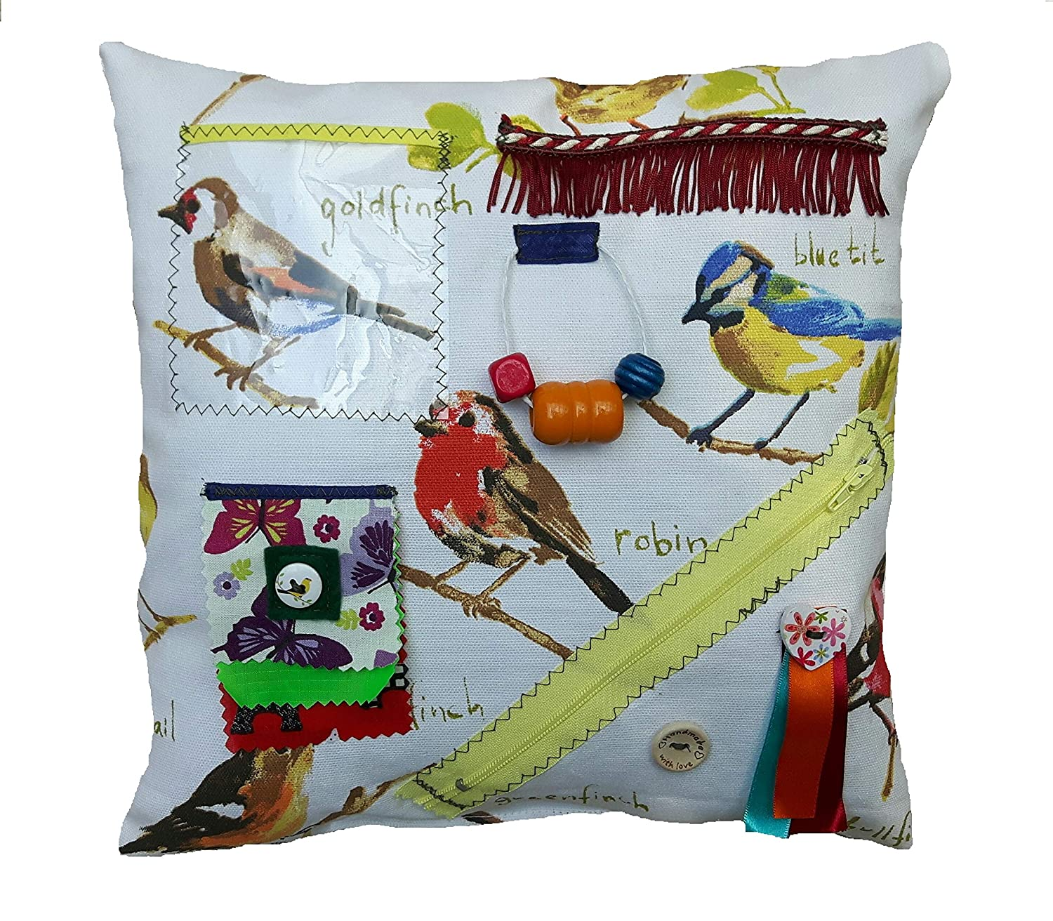 Sensory Fidget Garden Birds Cushion suitable for Dementia - Activities for Seniors