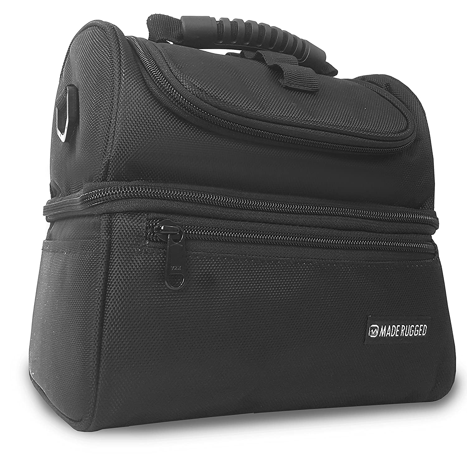 c36638eb4c4a MADE RUGGED Heavy Duty Insulated Lunch Bag For Workers, Men, Women,  Reusable & Collapsible Cooler Lunch Box (Black)