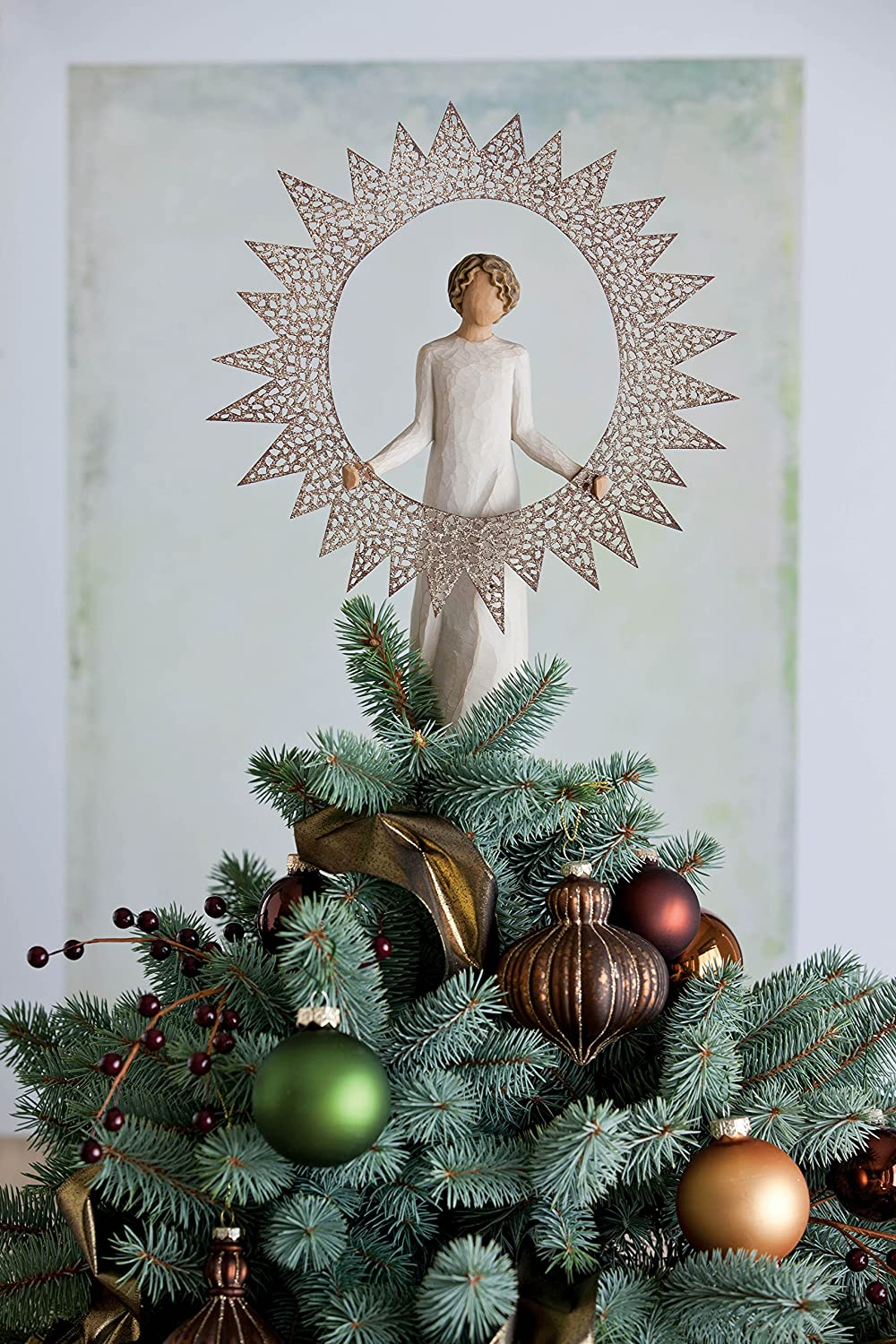 amazoncom willow tree 27277 starlight angel tree topper 12 inch height home kitchen - 12 Inch Christmas Tree