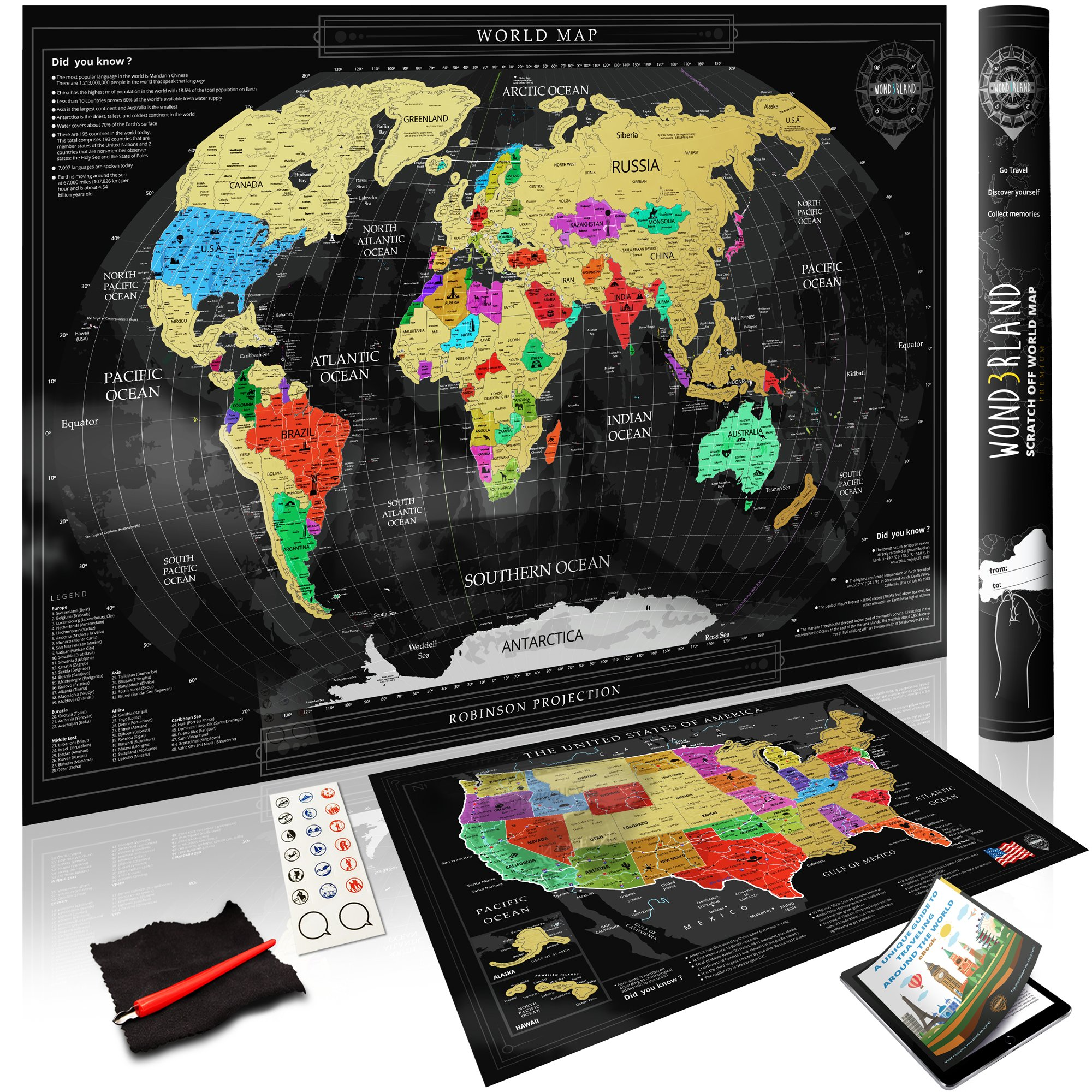Wond3rland Premium Scratch Off Map of The World + Bonus USA Map   Gold Personalized Wall Map Poster   Deluxe Gift for Travelers & Travel Tracking   Complete Accessories Set + eBook Included