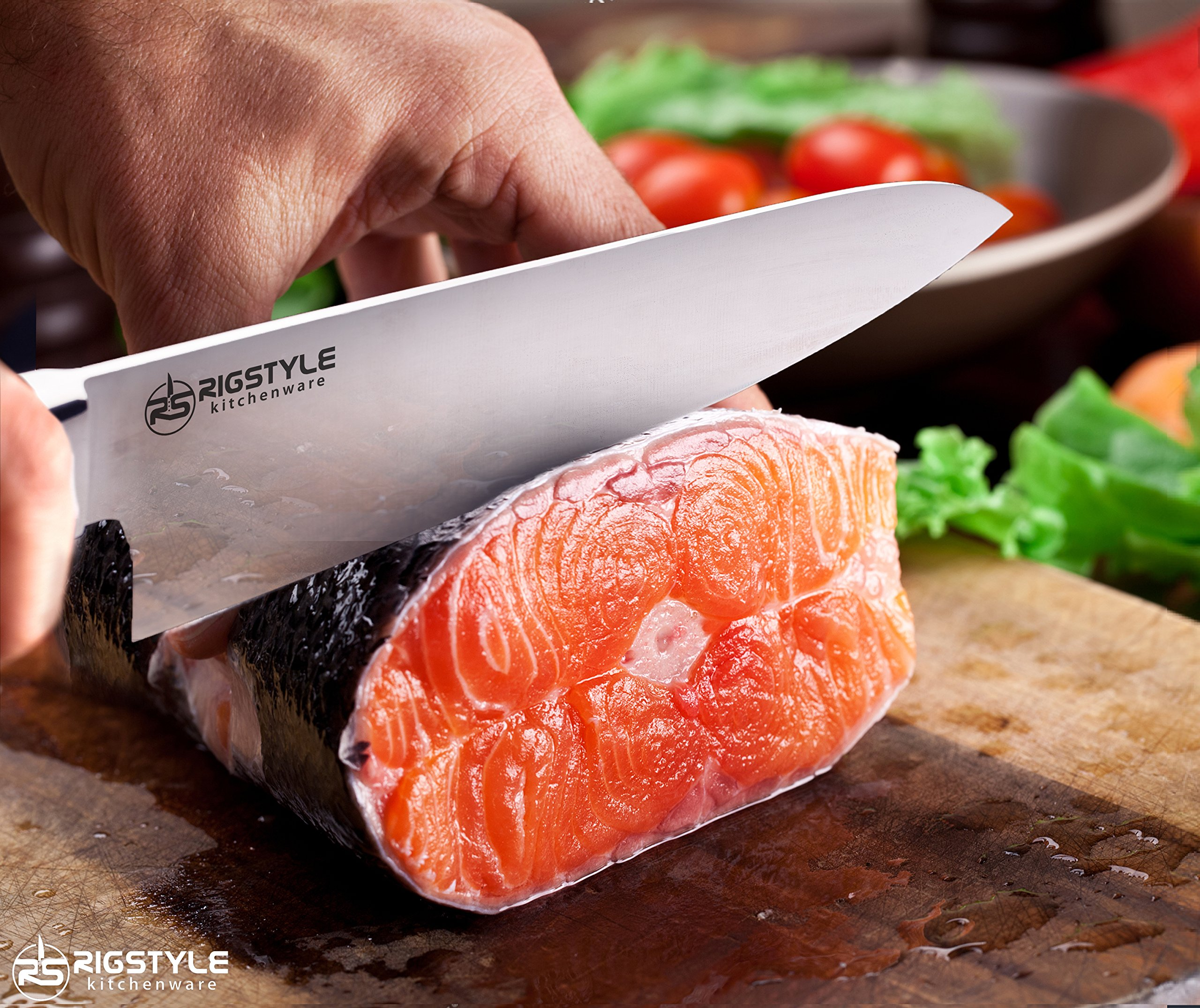 RIGSTYLE German Chef Knife 8 inch, High Carbon Stainless Steel, Sharp Blade with Ergonomic Handle for Professional Restaurants & Home Kitchens, Meat, Fish, Chicken & Vegetables Chopper, with Gift Box by RIGSTYLE (Image #6)