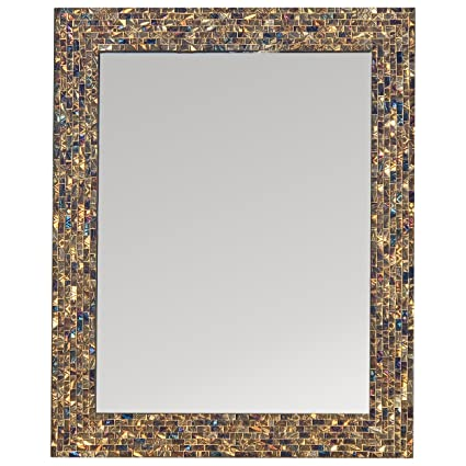 Amazoncom Multi Colored Gold Luxe Mosaic Glass Framed Wall