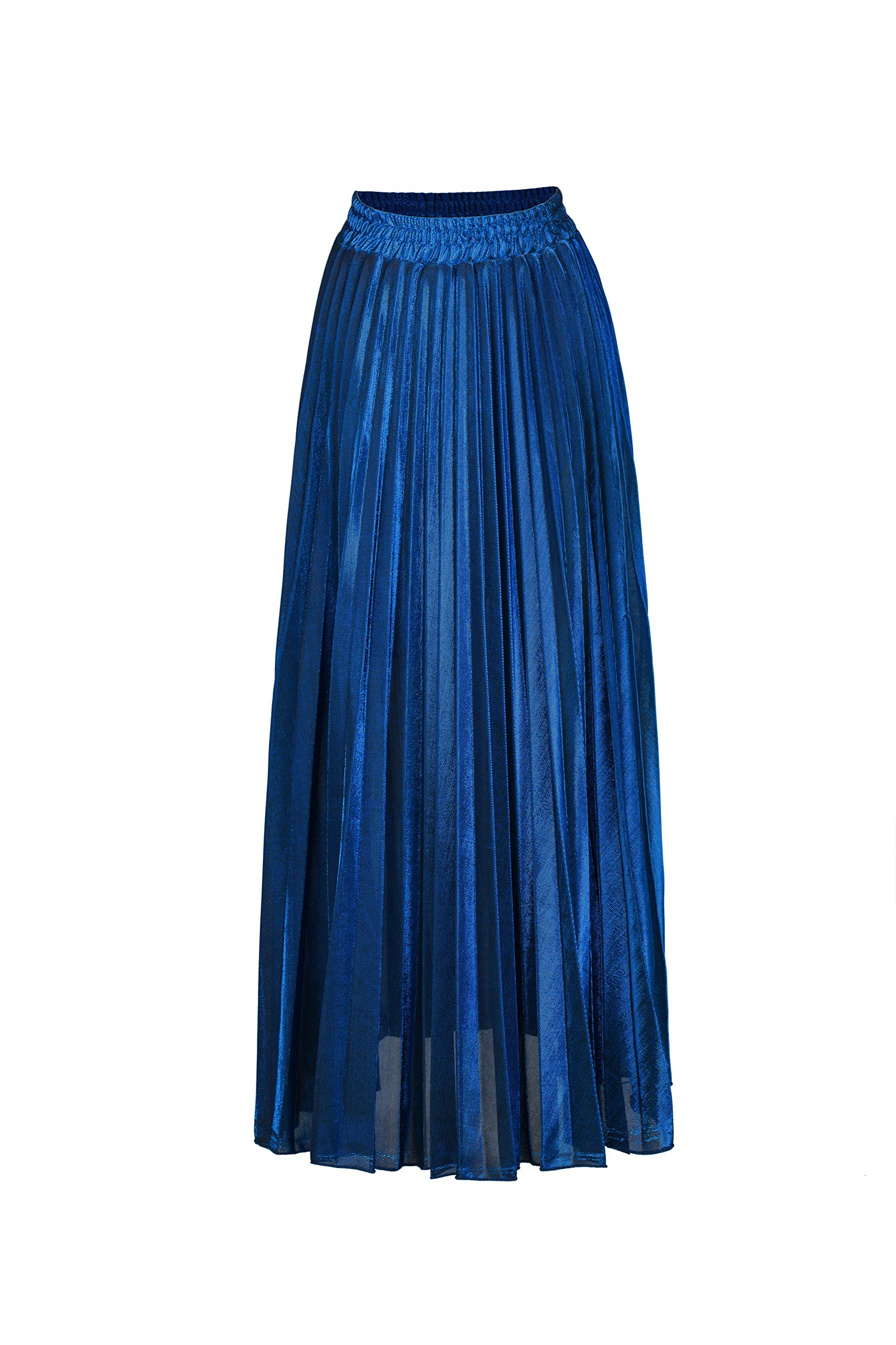 ACE SHOCK Pleated Skirts for Women Long, High Waist Slim Ball Gown Shiny Shimmer Accordion Maxi Skirt (Tag Size S, Jewelry Blue)