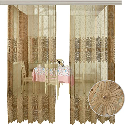 BW0057 Europern Style Classic Embroidered Bead Sheer Curtain Window Treatment Transparent Rod Pocket