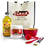 Aztec Clay Official Premium Mask Set by Etana Beauty | All-In-One Kit Includes 1lb Aztec Secret Indian Healing Clay, 16oz Bragg's Apple Cider Vinegar, Natural Bamboo Bowl, Stirrer, Scoop, Brush & Tote