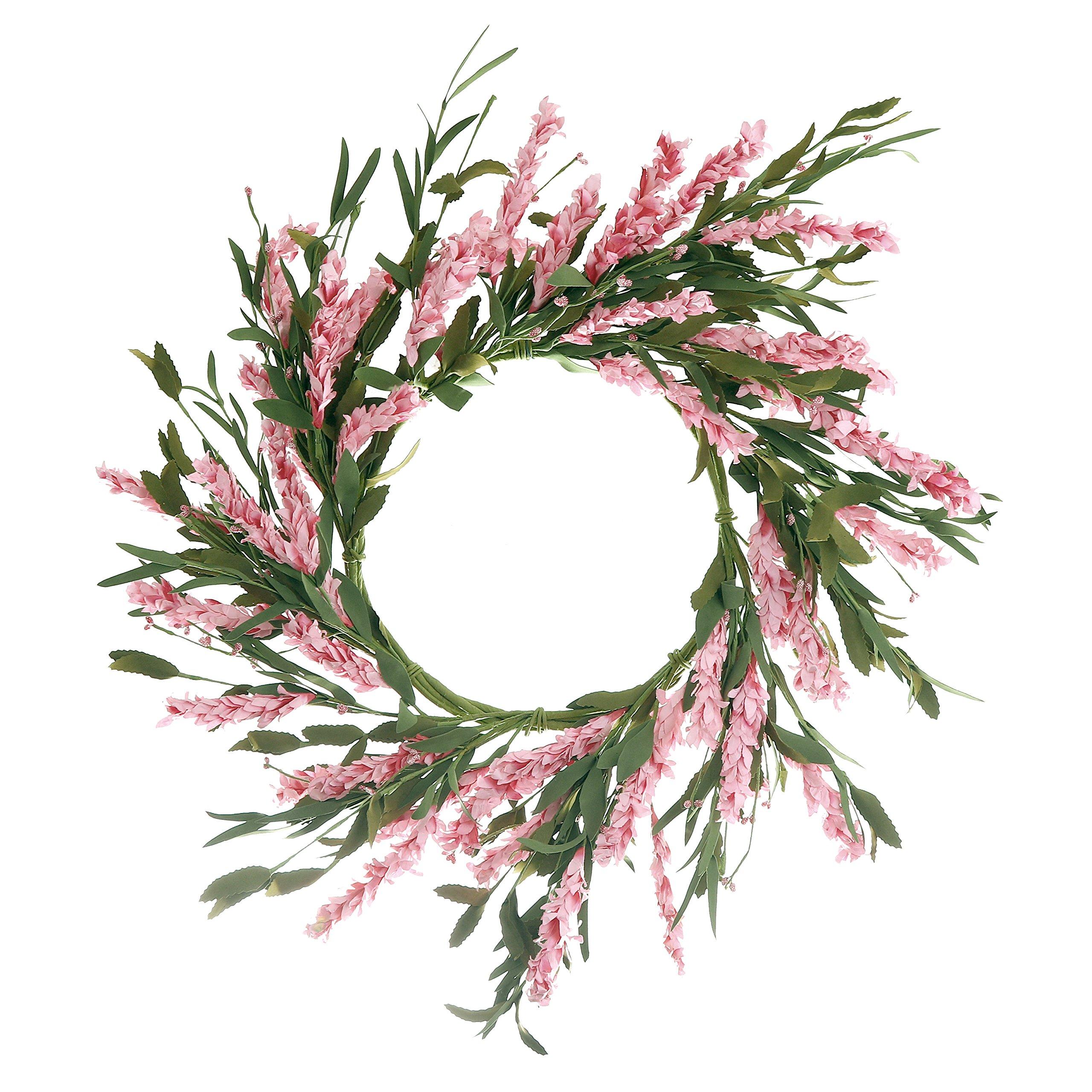 Qinbei Rina Front Door Wreath,19 Inch Artificial Handcrafted Flower with Twig Based,Indoor Front Door Wall House Office Garden Wedding Spring Summer Decoration, Hot Pink Flowers