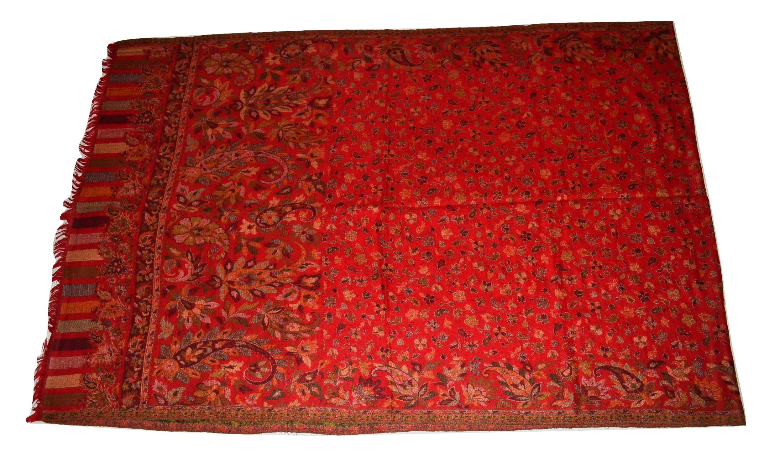 Handmade Pashmina & Fine Wool Fabric Multicolor Floral Paisley KANI Scarf/Stole.X1835