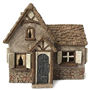 Marshall Home and Garden Tudor House Cottage Brown 7 x 7 Resin Stone Outdoor Statue With Opening Door