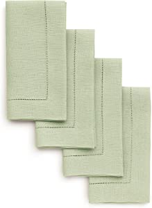 Solino Home 100% Pure Linen Hemstitch Dinner Napkins - 20 x 20 Inch, Sage Green Set of 4, European Flax, Natural Fabric Machine Washable Classic Hemstitch - Handcrafted with Mitered Corners