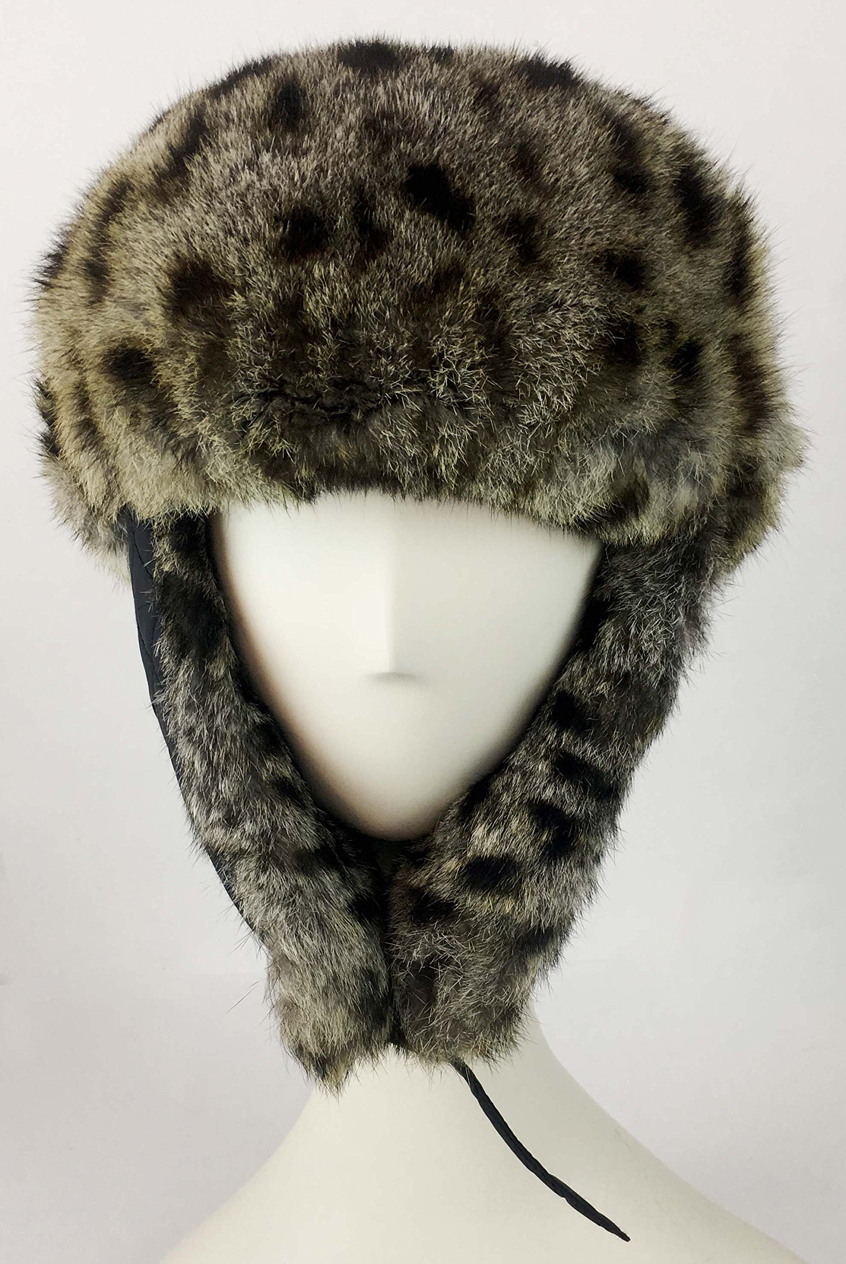 surell Trapper Aviator Hat with Rabbit Fur Trim - Warm Bomber Trooper Hat - Perfect Winter Luxury Gift (Leopard) by surell (Image #2)