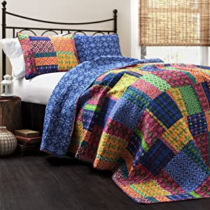 Lush Decor Misha Quilt | Patchwork Bohemian Reversible Print Pattern 3 Piece Bedding Set - King - Fuschia and Blue