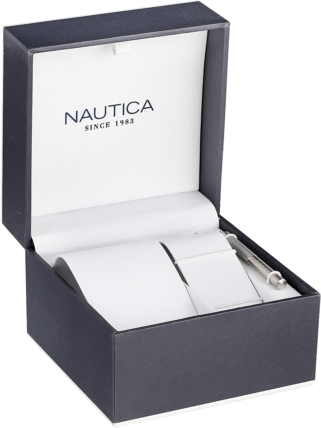 Nautica Men s N14536 NST Stainless Steel Watch with Black Resin Band