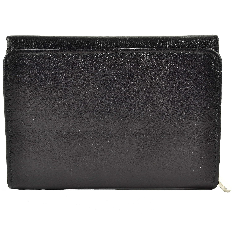 Señoras Suave Piel Tipo Monedero compacta por Rowallan; Zara Goza Colección Regalo de Calidad Negro Negro: Amazon.es: Zapatos y complementos