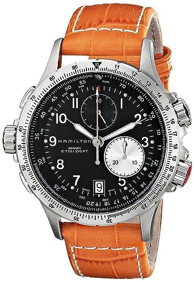 d314d8bc0bb1 Hamilton Reloj Analogico para Hombre de Cuarzo con Correa en Cuero  H77612933  Amazon.es  Relojes
