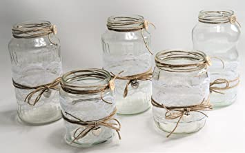 Amazon De 5 Windlichter Vasen Hochzeit Tischdeko Herz Spitze