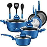 NutriChef - NCCW12BLU NutriChef Nonstick Kitchen Cookware Set - Professional Hard Anodized Home Kitchen Ware Pots and Pan Set