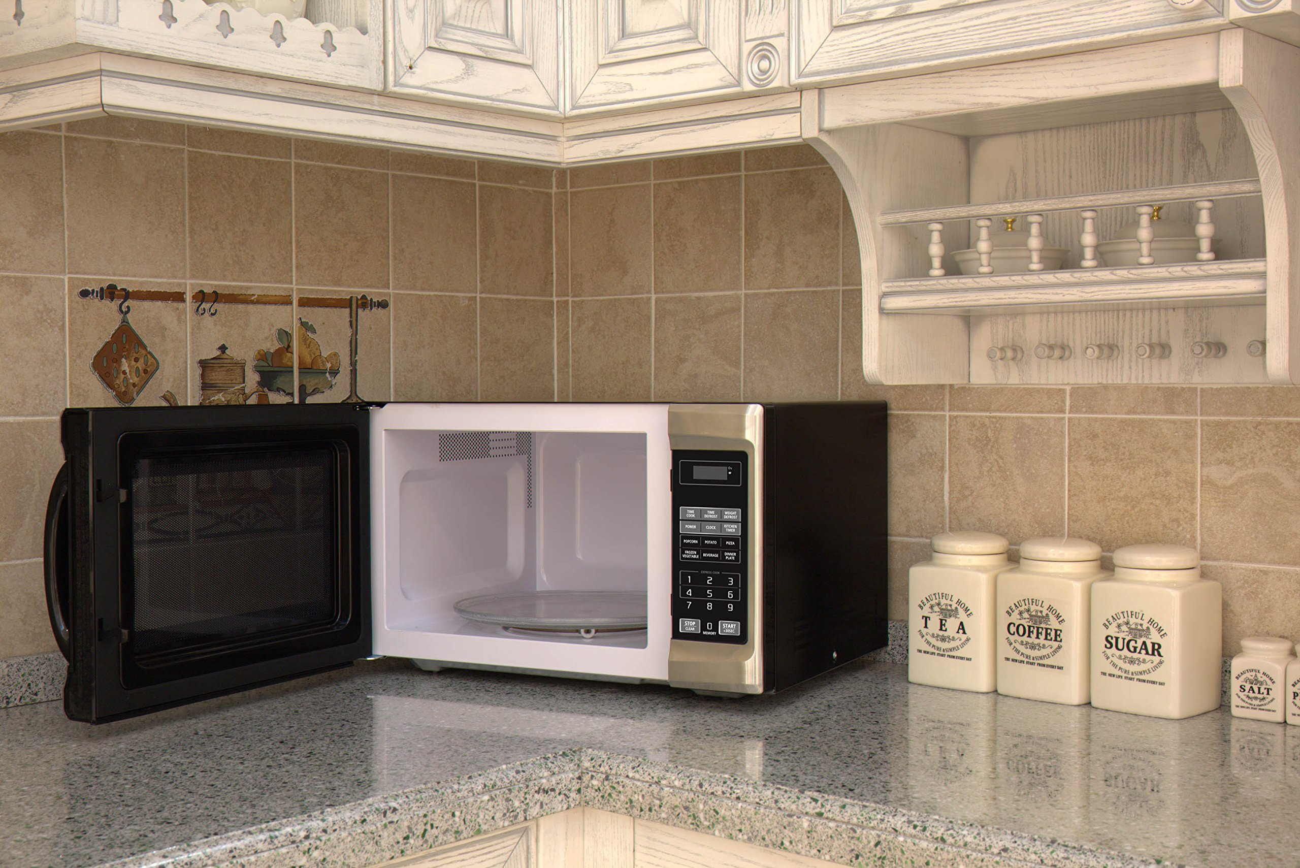 Emerson 1.3 CU. FT. 1000 Watt, Touch Control, Stainless Steel Front, Black Cabinet Microwave Oven, MW1338SB by Emerson Radio