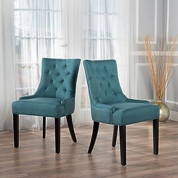 Amazon Com Deanna Tufted Teal Velvet Dining Chair With