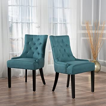 low priced 7d974 a8244 Christopher Knight Home 299537 Hayden Fabric Dining Chairs (Set Of 2), Dark  Teal