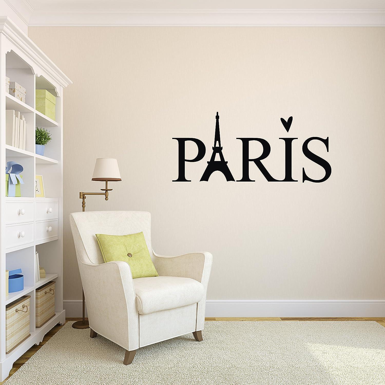 "Paris Wall Decal French Paris Decor Paris Eiffel Tower Wall Decal Vinyl Sticker (50"" x 22"")"