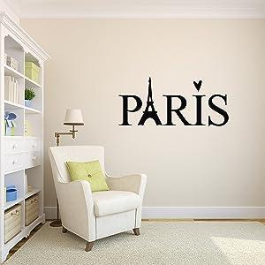"Paris Wall Decal French Paris Decor Paris Eiffel Tower Wall Decal Vinyl Sticker (36"" x 16"")"
