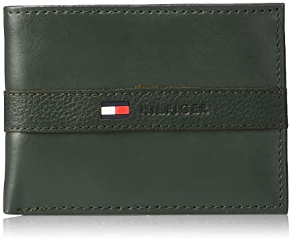 Tommy Hilfiger Mens Leather Wallet - Thin Sleek Casual Bifold with 6 Credit Card Pockets and