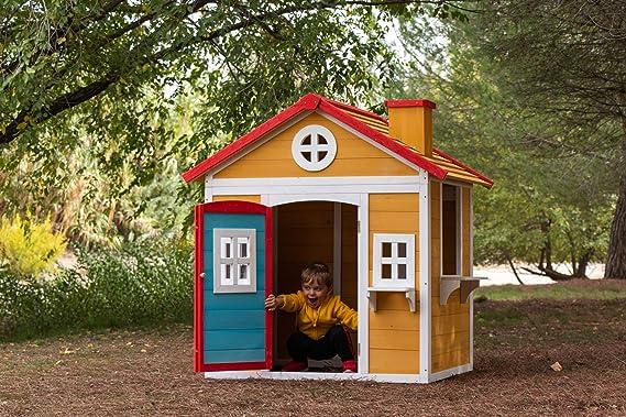 MASGAMES | Casita de madera VISBY | Casita de madera tratada para el exterior | homologada para uso doméstico |: Amazon.es: Jardín