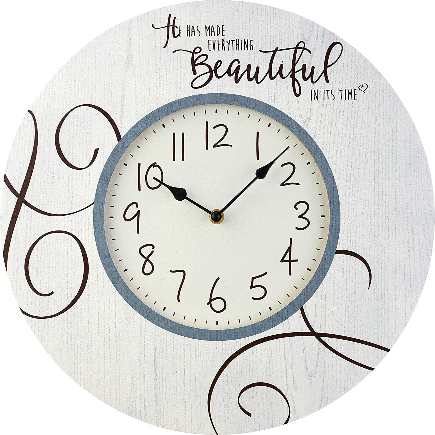 Precious Moments Farmhouse Decor He Has Made Everything Beautiful In Its Time Wood/Metal Wall Clock 189916